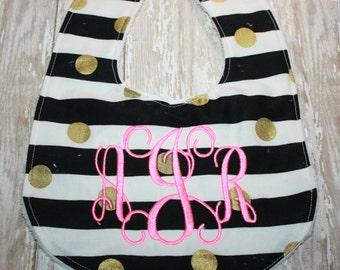 Baby Bib-Black and White Bib-Monogram Bib-Personalized Bib-Gold Polka Dot Baby Bib- Minky baby bib= Baby Girl Bib-Baby Boy Bib