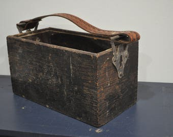 Vintage Wood Tool Box Caddy with Leather Strap