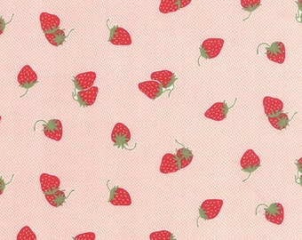 Fabric by Moda: Hello Darling by Bonnie and Camille, pink with red strawberries