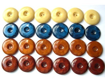 24 Vintage buttons, 4 colors, plastic buttons, 20mm