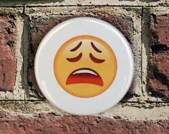 WEARY Emoji Pin Button