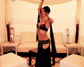 BELLY DANCE SKIRT ~ Tribal Fusion Bellydance Dancing Dakini Harem Festival Skirt Various Colours Gypsy Imayah ~ 'Black Magic'