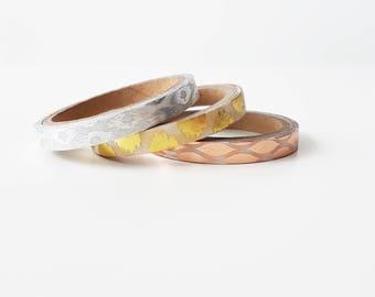 Set of 3 Gold Foil Skinny Washi Tape