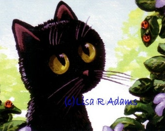 Black Cat Ladybug Note Cards from Original Painting Creationarts Free Shipping