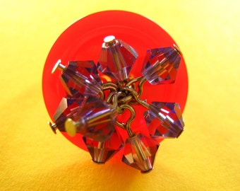 Red Button and Purple Crystal Wire Ring