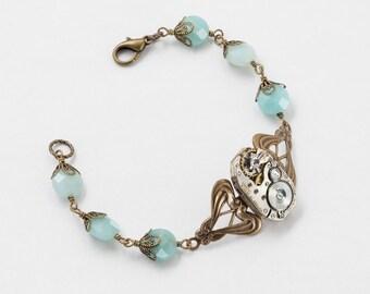 Steampunk Bracelet Vintage silver watch movement gears gold filigree genuine aquamarine blue Amazonite gemstone beads Steampunk jewelry 2439