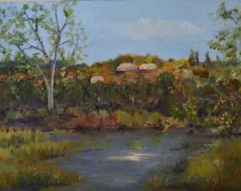 Original oil painting landscape painting fine art painting rural landscape plein air hills oil painting original landscape oil painting art