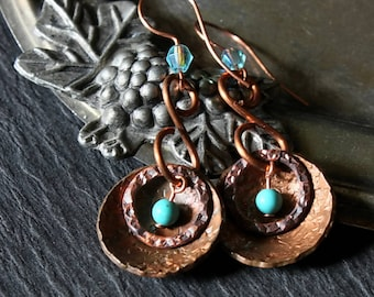 Hammered Copper Earrings, Dangle Copper Hoops Boho Earrings Boho Style Rustic Copper Earrings Turquoise Color Beads Boho Jewelry Wife Gifts
