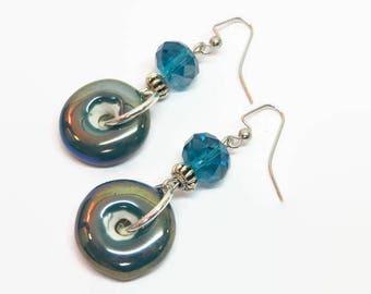 Funky Teal Earrings, Teal Boho Earrings, Teal Dangle Earrings, Artsy Dangle Earrings, Bohemian Style Earrings, Fun Teal Earrings