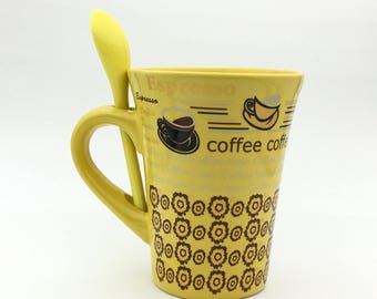 Vintage Coffee Mug with Spoon, Cappuccino, Latte, Expresso, Coffee Time, Mocha
