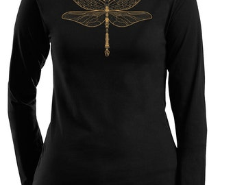 Clearance Dragonfly Women's Plus size Black Long Sleeve T-shirt, Gold, Steampunk, Jeweled Dragonfly Print, XXL