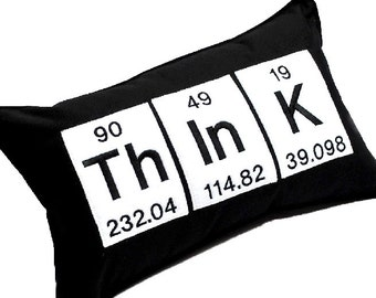 Periodic table word etsy think word embroidered pillow using the periodic table chemistry elements urtaz Image collections