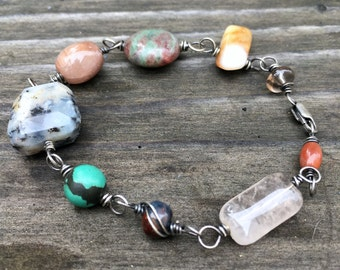 Joys and sorrows prayer bracelet grateful heart jewelry silver wire-wrapped stones