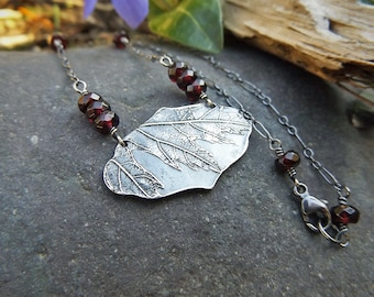 Acer macrofilum - Maple Fine Silver Necklace with Garnet- Botanical Jewelry   by Quintessential Arts