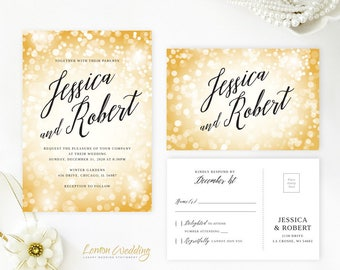 Gold wedding glitter confetti invitation with RSVP card | Glitter and glam wedding theme | Sparkle New Year's Eve wedding invitations
