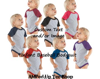Custom Infant Baseball Bodysuit, Custom Baby Shirt, Custom Baby Bodysuit, Infant Tee, Baseball Shirt. Baseball Tee