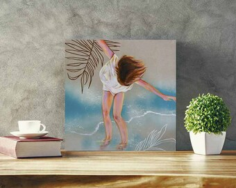 PRINTING Girl on the beach,ORIGINAL PAINTING ,fine art,decoration, canvas,turquoise,water,home decor, walls, contemporary art,aqua, sand
