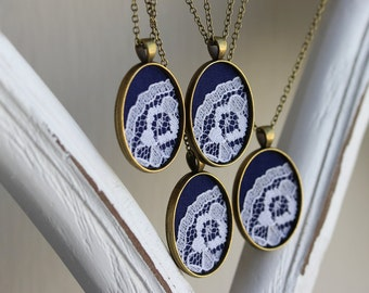 Navy Bridesmaid Gift Set of 4 Necklaces, Classic Blue And White Wedding Lace, Small Oval Bridesmaid Pendants