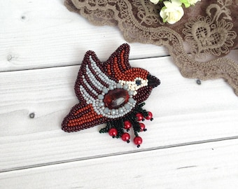 Brooch sparrow Sweet beadwork Bird beadwork Brown Gray Jewelry Gift for daughter Wife gift bird  Boho Brooch