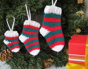Socks Christmas decorations, Set of 3 socks, crochet Christmas tree decorations, Christmas decorations socks, Christmas gift.