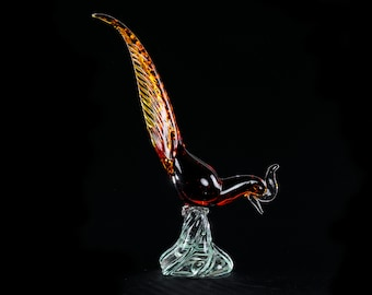 Vintage Murano Large Red and Amber Glass Pheasant