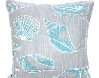 Nautical Pillow Covers Aqua Gray Decorative Pillows Cushion Covers Aqua Blue Gray White Shells Sun Room Couch Pillows Bed Various SIZES