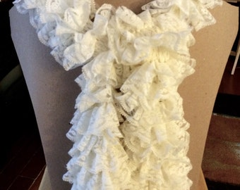 Cream Lace Ruffle Scarf