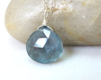 Aquamarine Necklace .. Moss Aquamarine Sterling Silver Necklace .. Gemstone Necklace .. Handmade Jewelry .. March Birthstone
