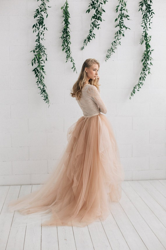 Blush Wedding Skirt Bridal Tulle Skirt Long Bridal Skirt