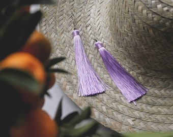 Purple tassel fringe boho earrings