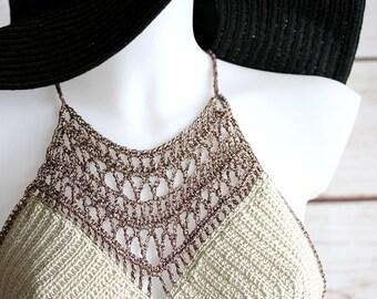 Crochet halter top, Crochet festival top, Summer top, Yoga top, Crochet crop top, festival clothing, Boho top, Hippie top, Hippie clothing