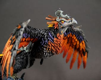 Clutch of Ji-Kun World of Warcraft fantasy figurine sculpture OOAK animal phoenix mount