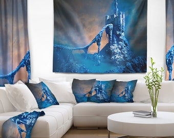Designart Old Blue Castle Contemporary Wall Tapestry, Wall Art Fit for Wall Hanging, Dorm, Home Decor