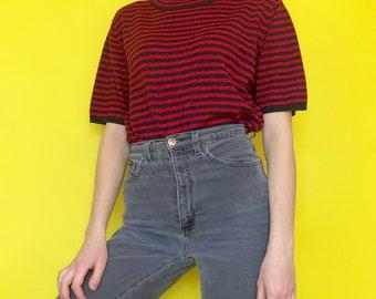 Vintage 90s Black and Red Short Sleeve Striped Mock Turtle Neck Oversized T-Shirt