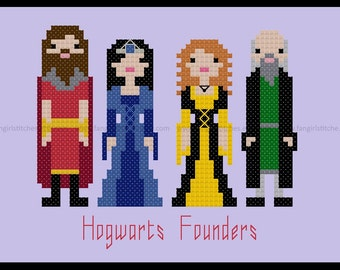 Harry Potter inspired Hogwarts Founders cross stitch - Gryffindor, Ravenclaw, Hufflepuff, Slytherin - PDF Pattern INSTANT Download