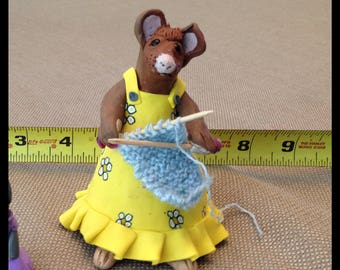 Yellow knitting clay mouse