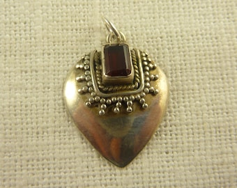 Vintage Sterling and Garnet Applied Bead Charm