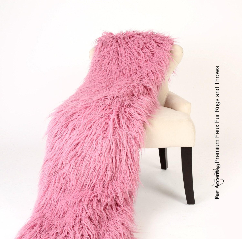 Manta de lujo piel sintética frambuesa malva rosa Shaggy