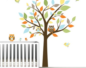 Nursery Wall Decal Stickers Children Wall Decal Tree wall decal Owl Birds-e46