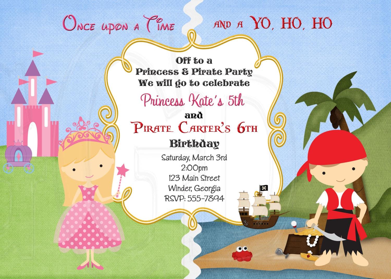 Charming Princess And Pirate Birthday Invitations Ideas - Invitation ...