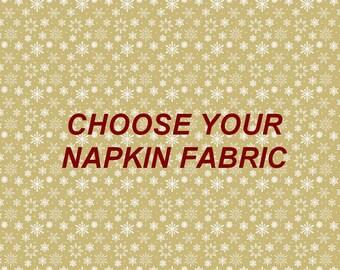 Custom Napkins, Cloth Napkins, Christmas Napkins, Holiday Napkins, Gold Napkins, Silver Napkins, Red Napkins, Choose Fabric, Made To Order