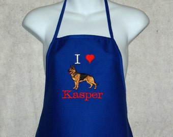 Love My German Shepherd  Apron, Dog Items,  Personalized, Embroidered With Name,  No Shipping Charges,  Ready To Ship TODAY,  AGFT 767