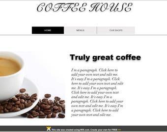 WIX Premade Website Template /Coffee Shop with MENU LIST