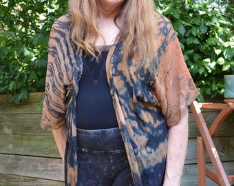Burnt Sienna and Black Silk Kimono Jacket, chiffon, one of a kind, hand-dyed, versatile, fits multiple sizes