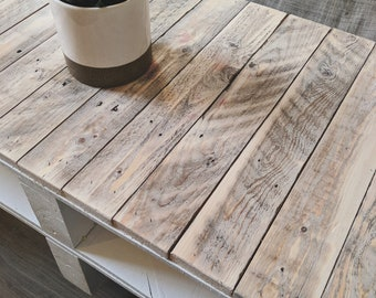 Pallet Wood Coffee Table ESMA In Farmhouse Style With Wheels   Industrial  Home Decor   Shabby Chic Distressed Design   Reclaimed Wood