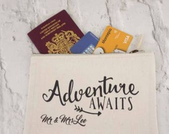 Adventure awaits travel wallet - newlyweds - passport holder - holiday bag - travel wallet - wedding gift - travel enthusiast -travel gift