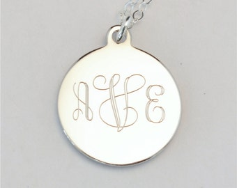 Small Custom Engraved Monogram Charm Necklace, Personalized Bridesmaid Gift, Flower Girl, Personalized Necklace, FREE Gift Wrapping,