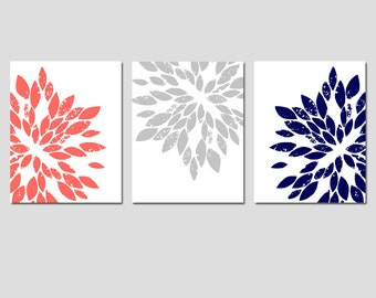 Coral Navy Gray Grey Floral Flower Art - Modern Abstract Painterly Floral - Set of 3 Prints Set of Three Prints - CHOOSE YOUR COLORS