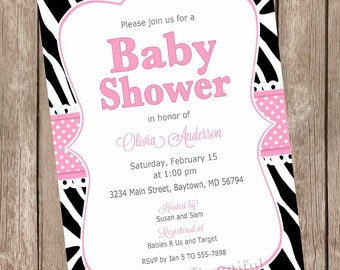 Girl baby shower invitation, zebra baby shower invitation, pink and black baby shower invitation, zebra print invitation, diva baby shower