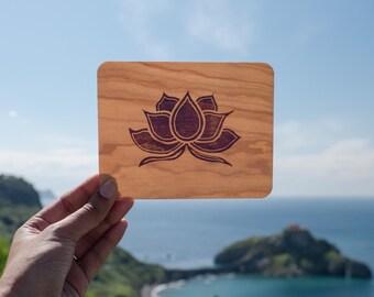 Wooden card, Lotus flower art, Reclaimed wood, Block print card, Wood art, Purple lotus, Keepsake card, Custom message card